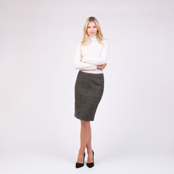 Women's Harris Tweed Cindy Skirt | Dark Green Check