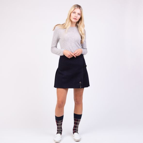 Women's Harris Tweed Mini Kilt | Dark Navy Twill Solid