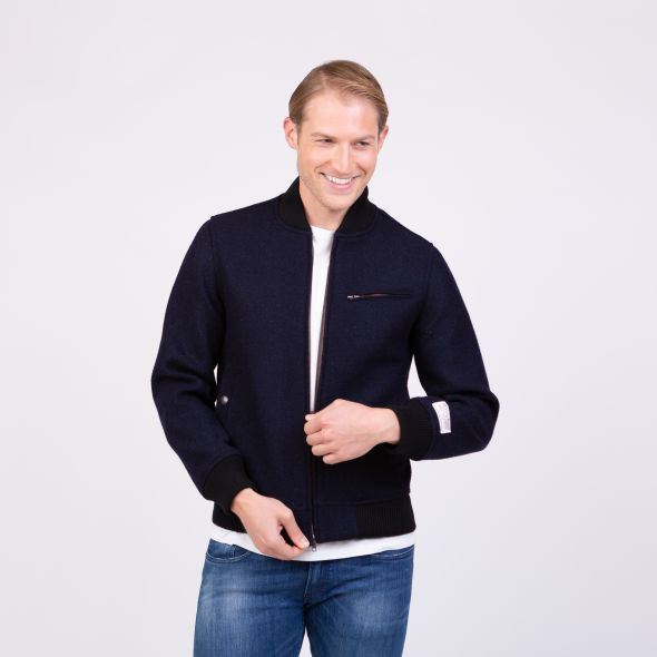 Men's Harris Tweed Bomber Jacket | Dark Navy Twill Solid