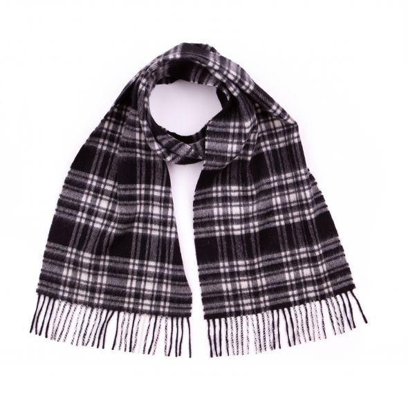Lambswool Clan Scarf | Menzies Black & White Modern