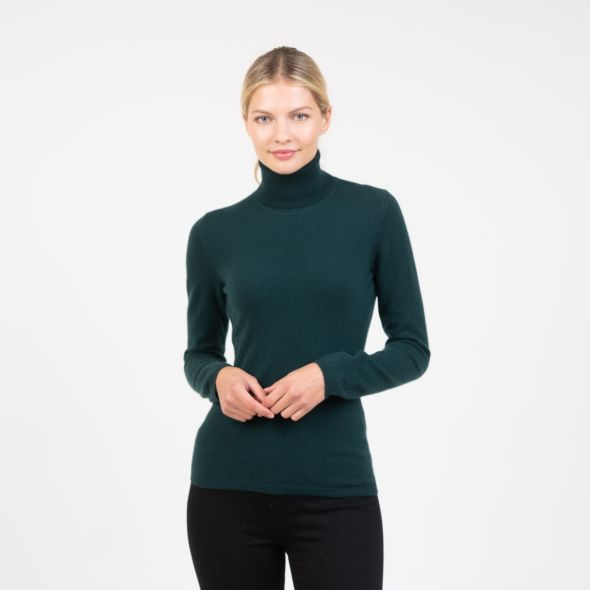 Women's Cashmere Polo Neck Jumper | Richmond Green