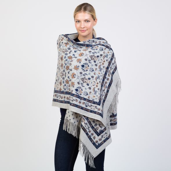 Cashmere Double Sided Printed Stole | Camel True Navy