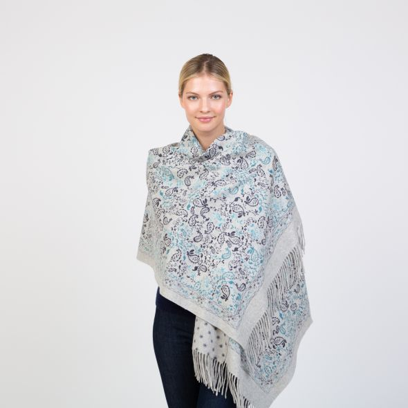 Cashmere Double Sided Printed Stole | Navy Kashmiri Print