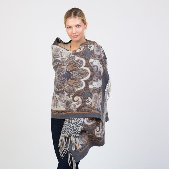 Cashmere Double Sided Printed Stole | Navy Taupe