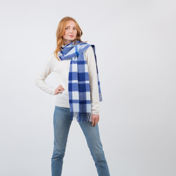 Cashmere Wide Scarf | Blue Exploded Scotty Thompson