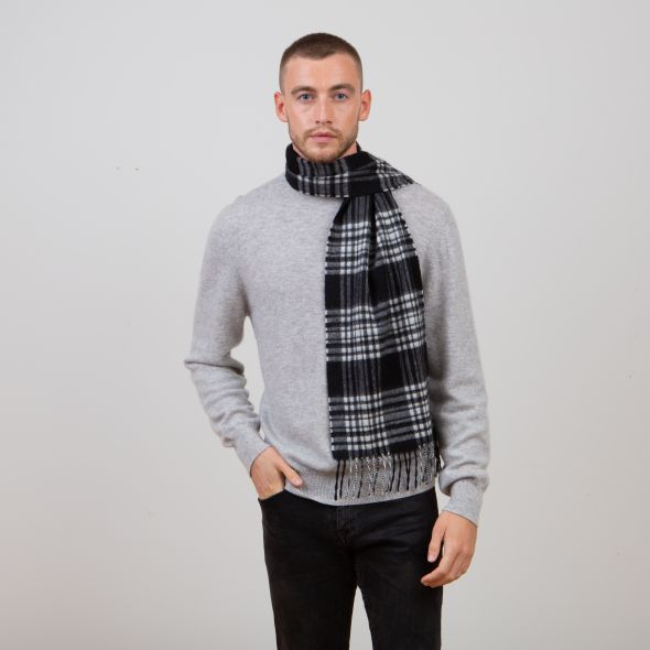 Cashmere Scarf | Black And White Menzies