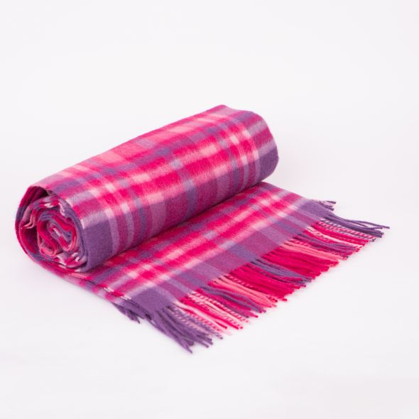 Lambswool Throw | Purple Pink Exploded Check