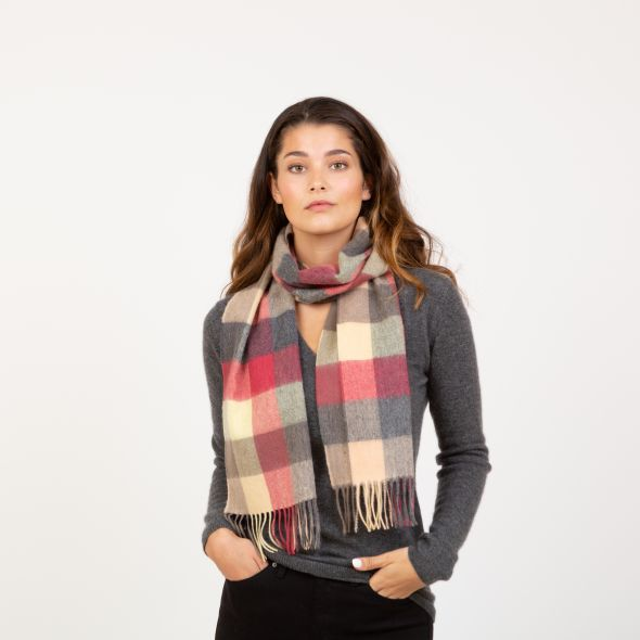 Lambswool Scarf | Grey Rose 5 Square Check