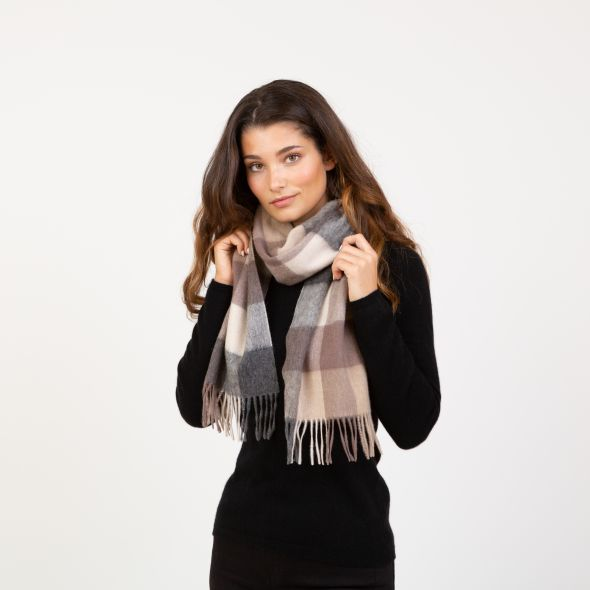 Lambswool Scarf | Natural Checkers