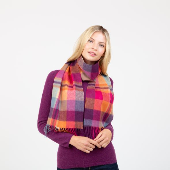 Lambswool Scarf   Orient Ginger New Square Check