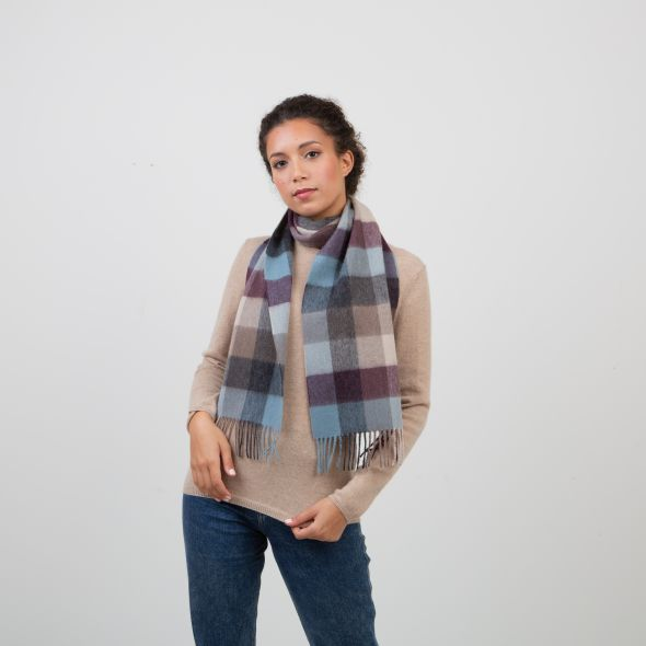 Lambswool Scarf | Teal 5 Square Check