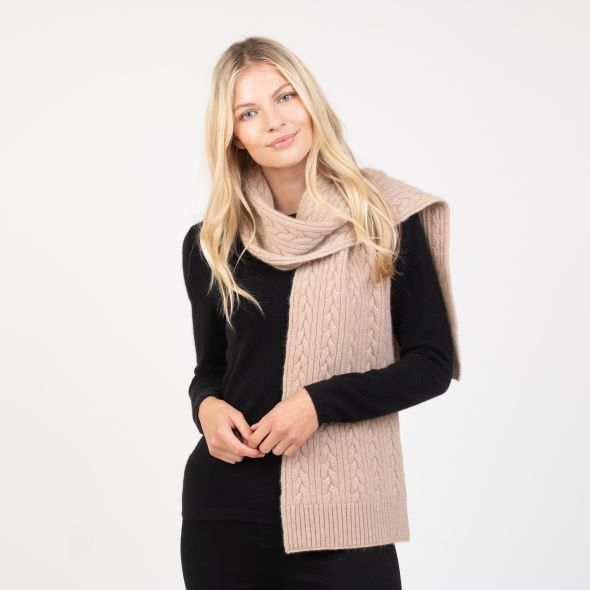 Cashmere Cable Knitted Scarf | Sand