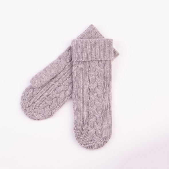 Cashmere Cable Knit Mittens | Oyster Grey