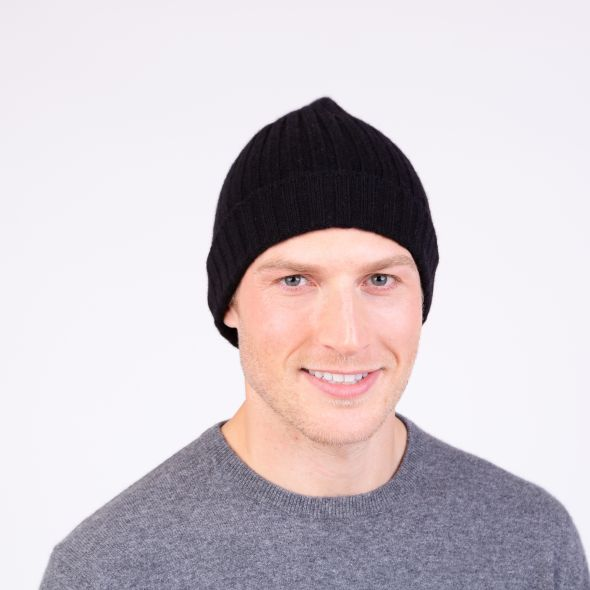 Cashmere Ribbed Beanie Hat | Black
