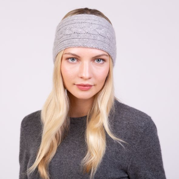 Cashmere Cable Knitted Headband | Oyster Grey