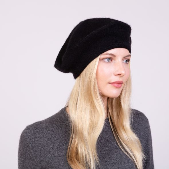 Cashmere Knitted Beret | Black