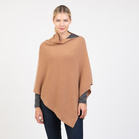 Cashmere Knitted Poncho | Camel
