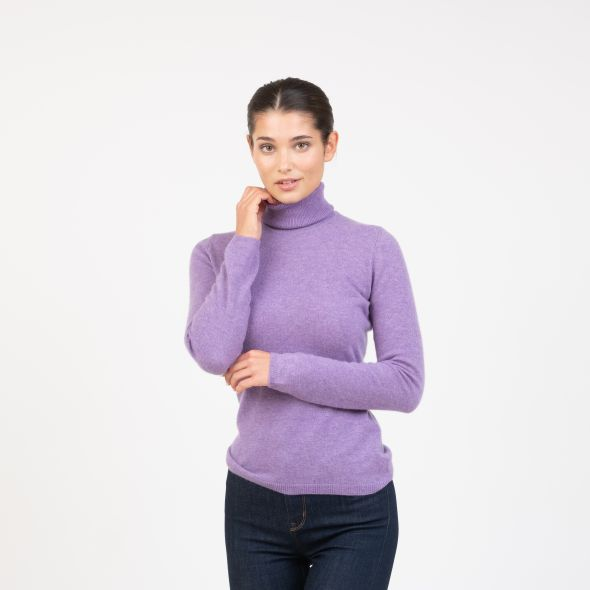 Women's Cashmere Polo Neck Jumper | Heather