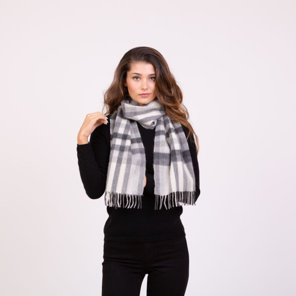 Made In Scotland Cashmere Scarf | Monochrome Stepping Check