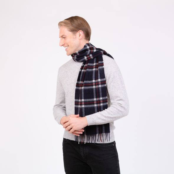 Made In Scotland Cashmere Scarf | Navy Scotty Thompson