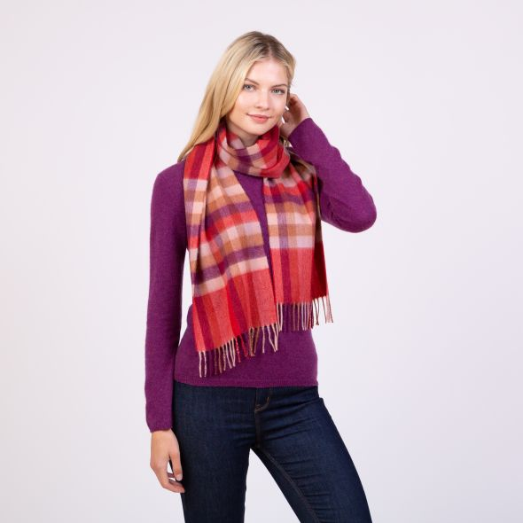 Made In Scotland Cashmere Scarf | Spice Stepping Check