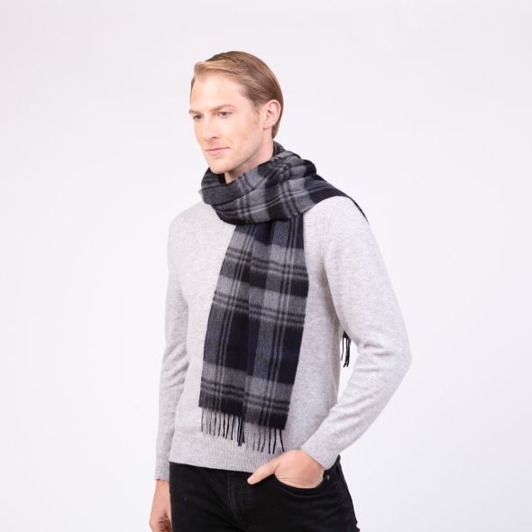 Made In Scotland Cashmere Scarf | Grey Blackwatch