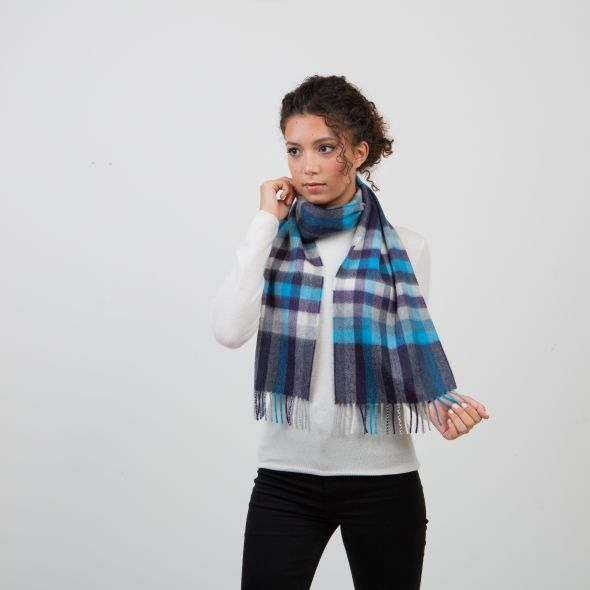 Made In Scotland Cashmere Scarf | Teal Stepping Check