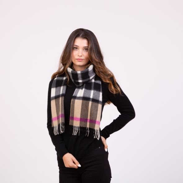 Made In Scotland Cashmere Scarf   Exploded Camel Thompson Pink