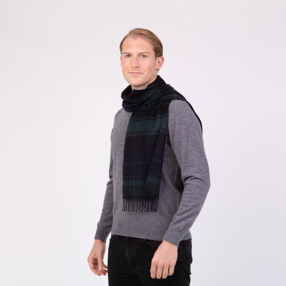 Made In Scotland Cashmere Scarf | Blackwatch Repeat Edge