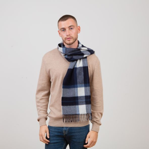 Made In Scotland Wide Cashmere Scarf | Chatham Navy Check