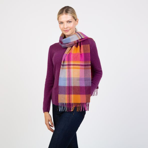 Made In Scotland Wide Cashmere Scarf | Orient Ginger New Square Check