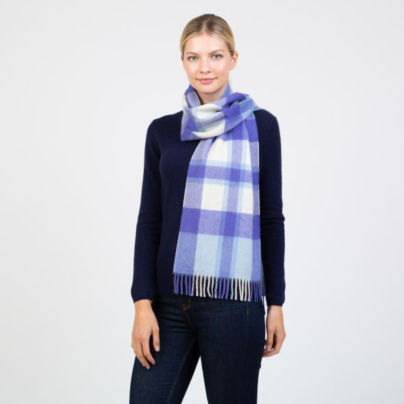 Made In Scotland Wide Cashmere Scarf | Exploded Thompson Blue