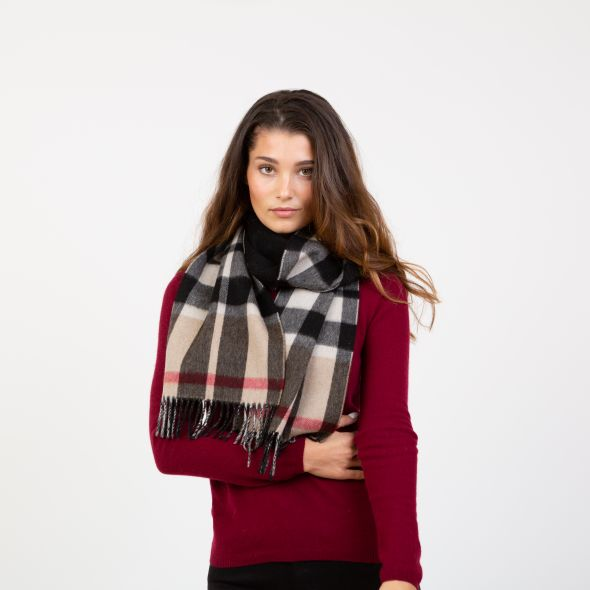 Made In Scotland Double Sided Cashmere Scarf | Exploded Camel Thompson Black Reverse