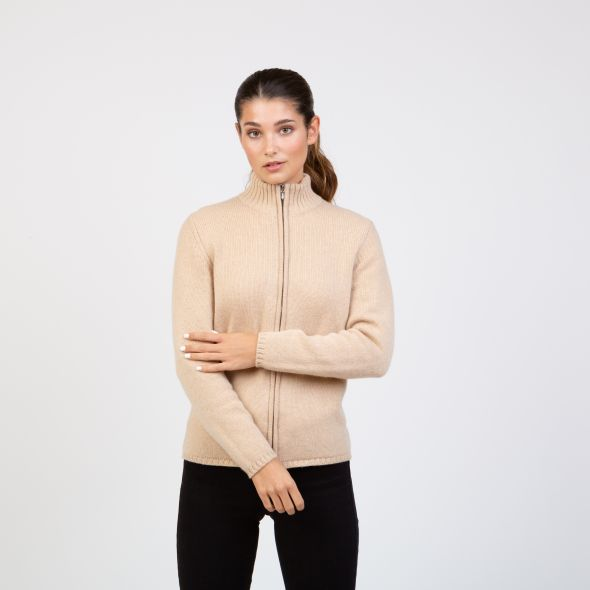 Women's Made In Scotland Zola High Neck Zipper Cardigan | Oatmeal