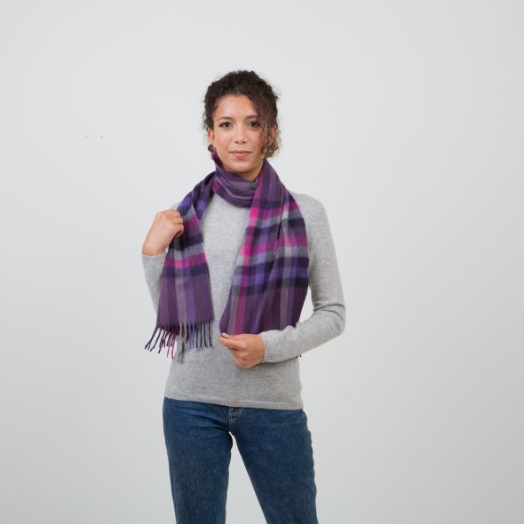 Made In Scotland Cashmere Scarf   Purple Stepping Check
