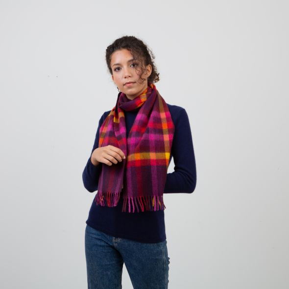 Made In Scotland Cashmere Scarf   Burgundy Stepping Check