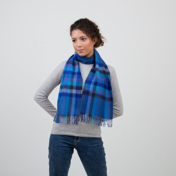 Made In Scotland Cashmere Scarf | Blue Stepping Check