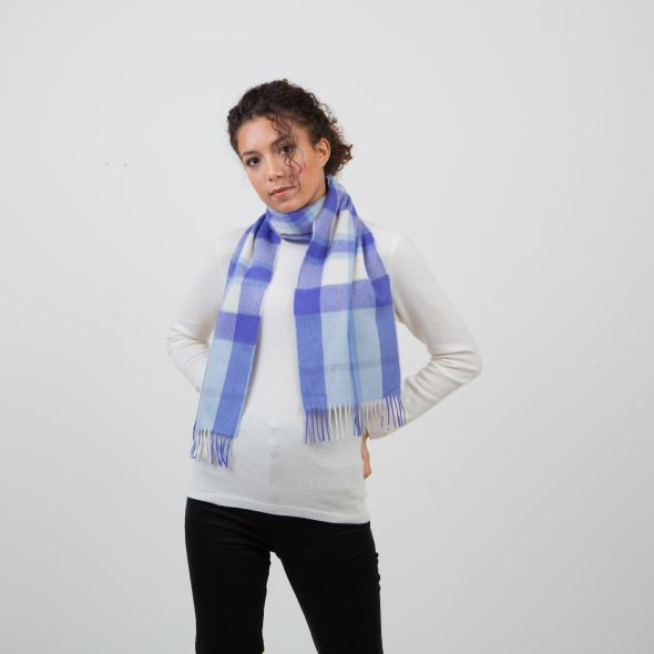 Made In Scotland Cashmere Scarf | Exploded Pale Blue Thompson