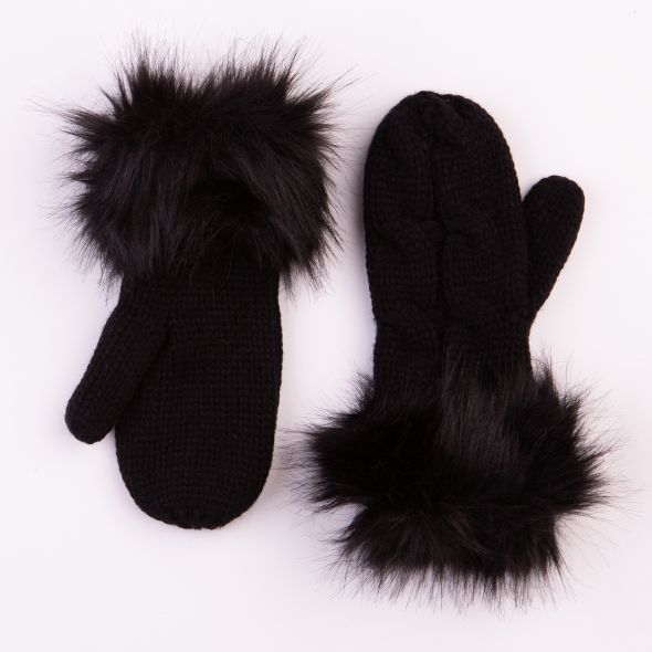 Cable Knit Mittens | Black