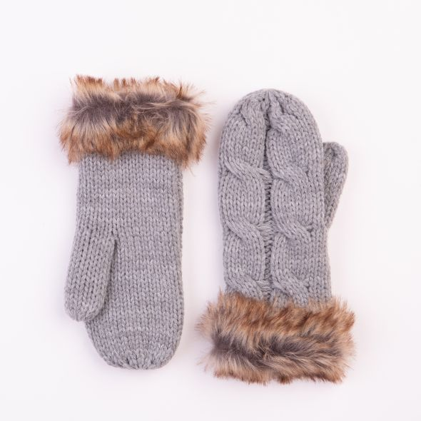 Cable Knit Mittens | Grey