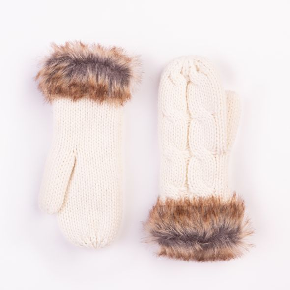 Cable Knit Mittens | Cream
