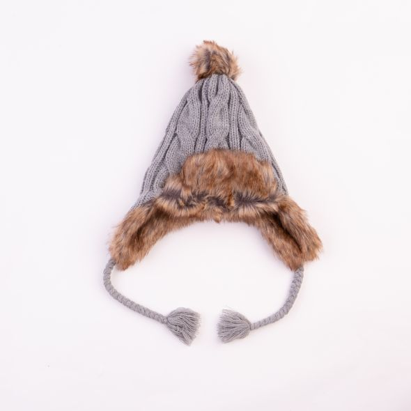 Cable Pom Trapper Hat | Grey