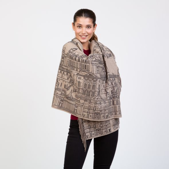 Cashmere Double Sided Printed Stole | Beige Edin Skyline Repeat