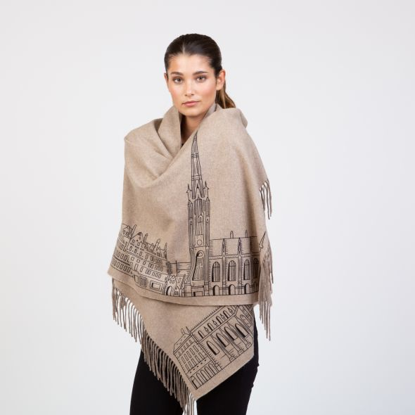 Cashmere Double Sided Printed Stole | Beige Royal Mile Print