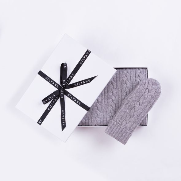 Cashmere Cable Knitted Scarf And Mittens Gift Set | Oyster Grey