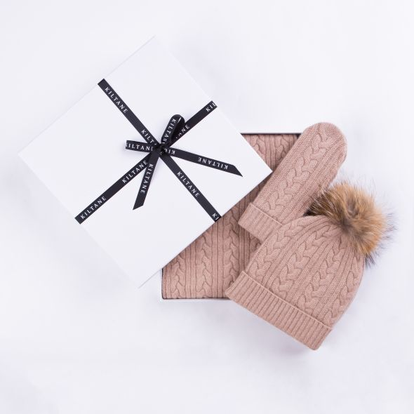 Cashmere Cable Knitted Scarf, Mittens And Hat Gift Set | Sand