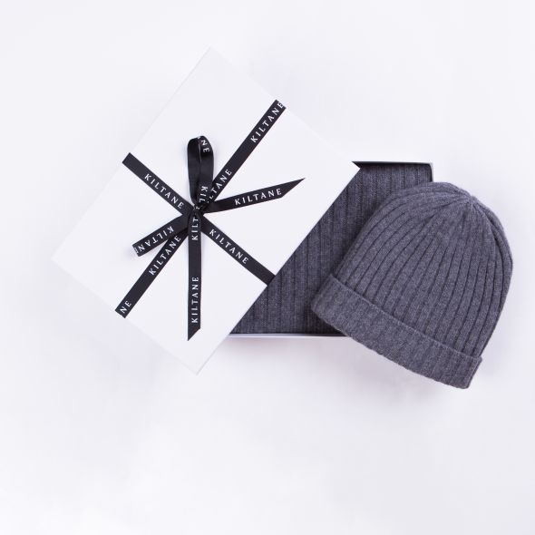Cashmere Ribbed Scarf And Beanie Hat Gift Set | Derby Grey