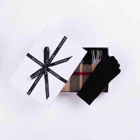 Cashmere Scarf And Glove Gift Set | Exploded Camel Thompson
