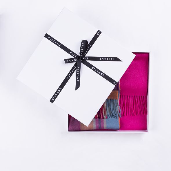 Lambswool Scarf Gift Set | Orient Ginger New Square Check