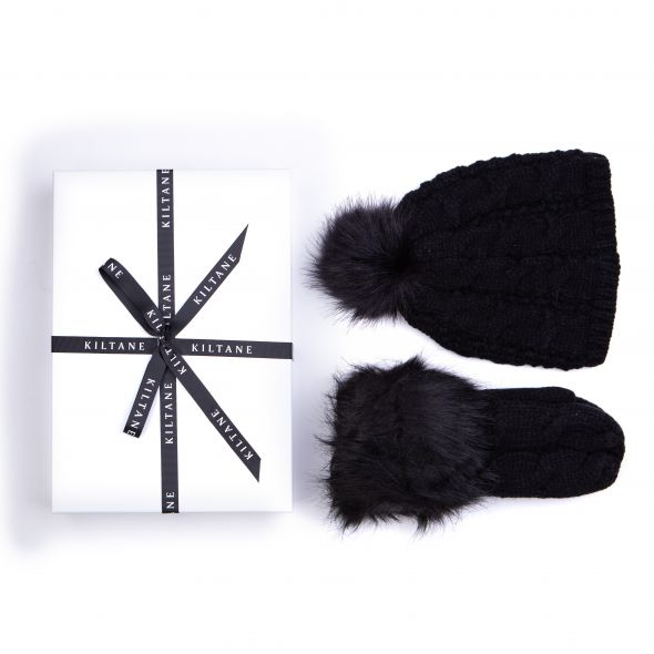 Cable Knit Mittens And Hat Gift Set | Black